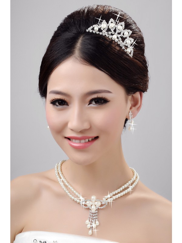 Charming Pearls Alloy Clear Crystals Wedding Headpieces Necklaces Earrings Set
