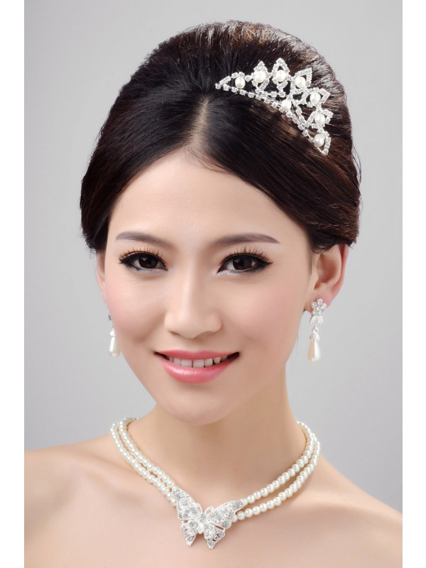 Elegant Alloy Clear Crystals Pearl Wedding Headpieces Necklaces Earrings Set