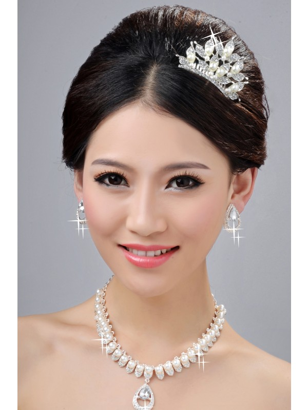 Elegant Pearls Alloy Clear Crystals Wedding Headpieces Necklaces Earrings Set