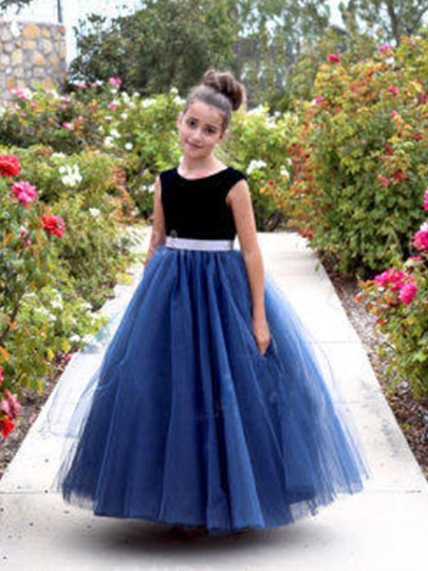 A-Line/Princess Scoop Tulle Sleeveless Ankle-Length Flower Girl Dresses