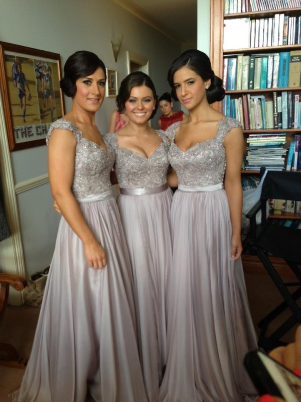 Sheath/Column V-neck Chiffon Short Sleeves Floor-Length Bridesmaid Dresses