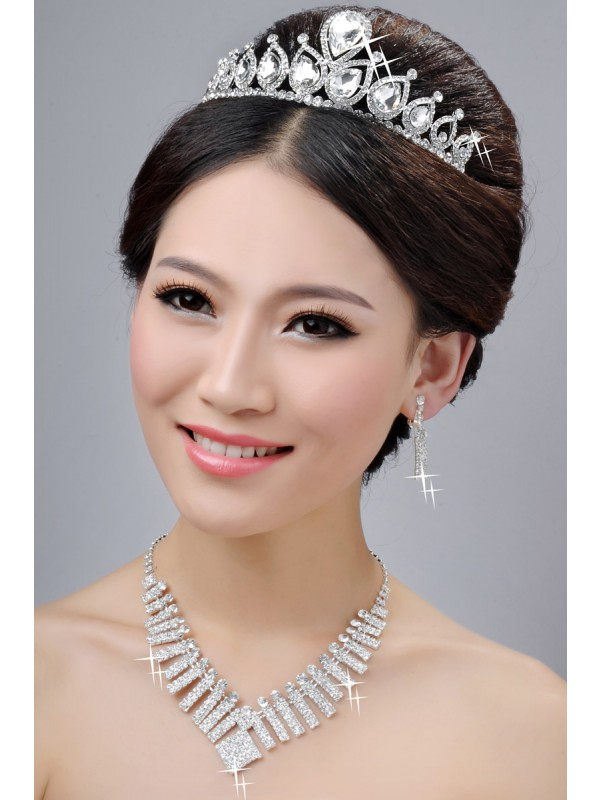 New Style Alloy Clear Crystals Wedding Headpieces Necklaces Earrings Set