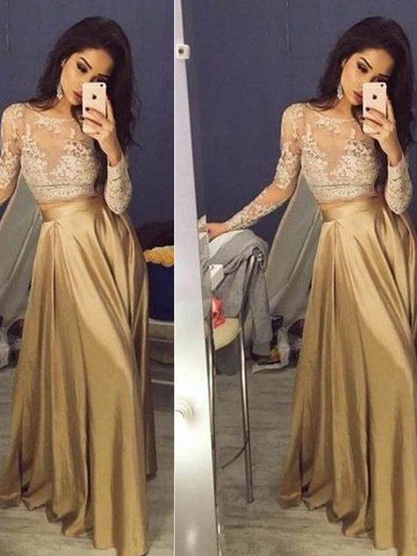 A-Line/Princess Scoop Taffeta Long Sleeves Floor-Length Two Piece Dresses