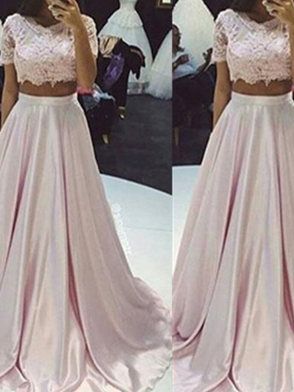 A-Line/Princess Scoop Taffeta Sleeveless Floor-Length Two Piece Dresses
