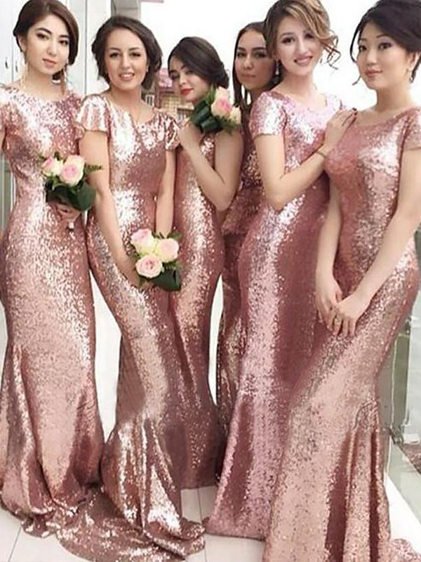 Sheath/Column Scoop Sequins Short Sleeves Sweep/Brush Train Bridesmaid Dresses