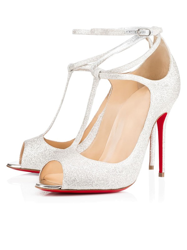 Women's Sparkling Glitter Peep Toe with Ankle Strap Stiletto Heel High Heels