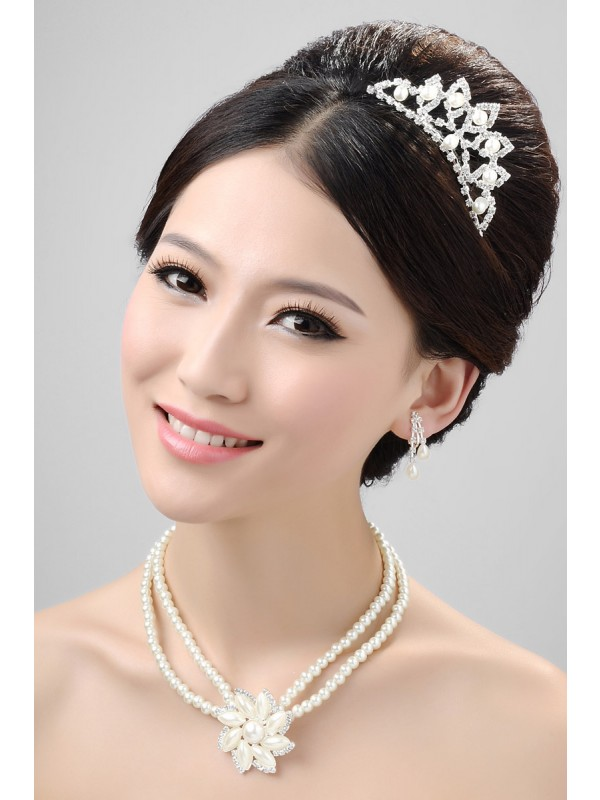 Stunning Pearls Alloy Clear Crystals Flower Wedding Headpieces Necklaces Earrings Set