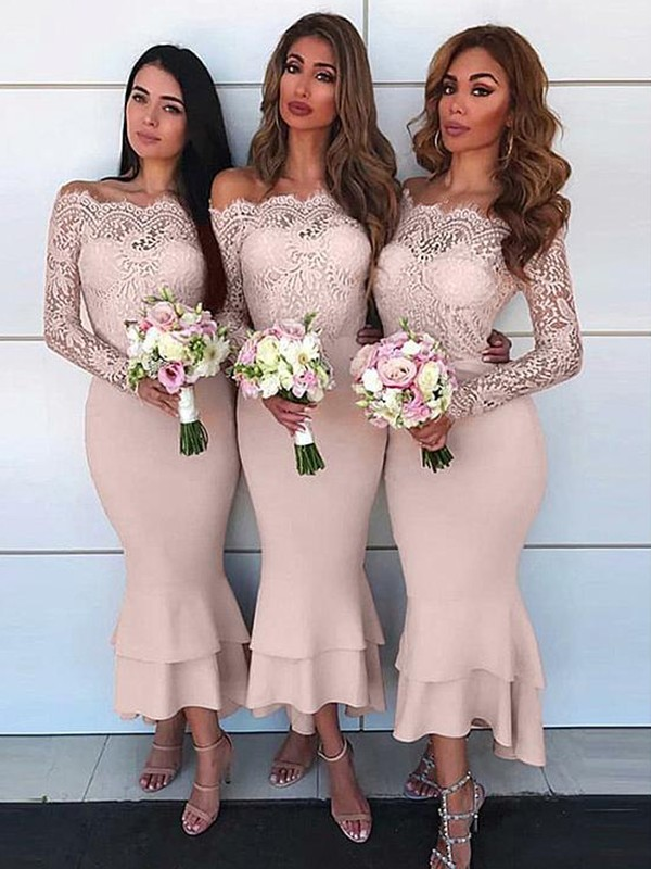 Sheath/Column Off-the-Shoulder Chiffon Long Sleeves Ankle-Length Bridesmaid Dresses