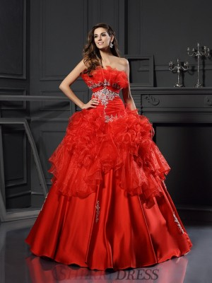 Ball Gown Strapless Organza Sleeveless Floor-Length Prom Dresses