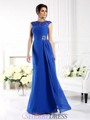 A-Line/Princess Bateau Chiffon Sleeveless Floor-Length Dresses
