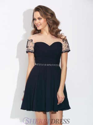 A-Line/Princess Jewel Chiffon Short Sleeves Short/Mini Cocktail Dresses