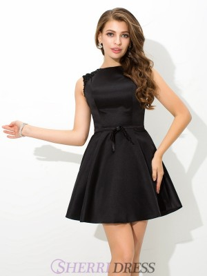 A-Line/Princess High Neck Satin Sleeveless Short/Mini Cocktail Dresses