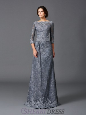 A-Line/Princess Bateau Net 3/4 Sleeves Sweep/Brush Train Mother of the Bride Dresses