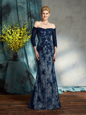 Trumpet/Mermaid Off-the-Shoulder Lace 3/4 Sleeves Floor-Length Mother of the Bride Dresses