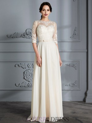 A-Line/Princess Scoop Chiffon 1/2 Sleeves Floor-Length Wedding Dresses