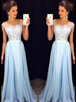 A-Line/Princess Sheer Neck Chiffon Sleeveless Sweep/Brush Train Dresses