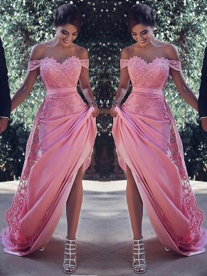 Sheath/Column Off-the-Shoulder Silk like Satin Sleeveless Sweep/Brush Train Dresses