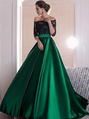 A-Line/Princess Off-the-Shoulder Satin 3/4 Sleeves Sweep/Brush Train Dresses