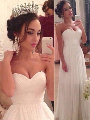 A-Line/Princess Sweetheart Chiffon Sleeveless Floor-Length Wedding Dresses