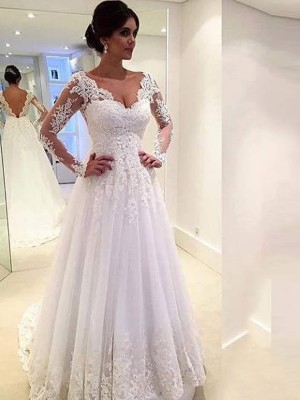 Ball Gown V-neck Tulle Long Sleeves Sweep/Brush Train Wedding Dresses