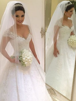 Ball Gown V-neck Tulle Sleeveless Floor-Length Wedding Dresses