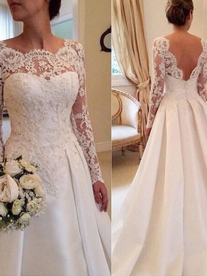 Ball Gown Scoop Satin Long Sleeves Court Train Wedding Dresses