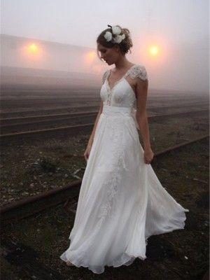 A-Line/Princess V-neck Chiffon Sleeveless Floor-Length Wedding Dresses