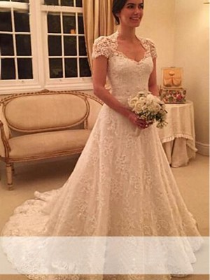 A-Line/Princess Sweetheart Lace Short Sleeves Court Train Wedding Dresses