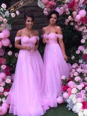 A-Line/Princess Off-the-Shoulder Tulle Sleeveless Floor-Length Bridesmaid Dresses