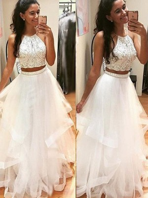 A-Line/Princess Halter Tulle Sleeveless Floor-Length Two Piece Prom Dresses