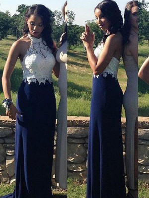 Sheath/Column Halter Chiffon Sleeveless Floor-Length Prom Dresses