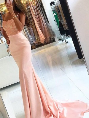 Trumpet/Mermaid Spaghetti Straps Satin Sleeveless Sweep/Brush Train Prom Dresses