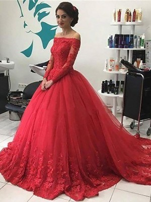 Ball Gown Off-the-Shoulder Tulle Long Sleeves Court Train Prom Dresses