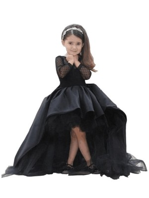 Ball Gown Scoop Satin Long Sleeves Sweep/Brush Train Flower Girl Dresses