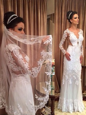 Sheath/Column V-neck Tulle Long Sleeves Sweep/Brush Train Wedding Dresses