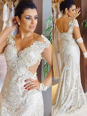 Sheath/Column V-neck Lace Long Sleeves Sweep/Brush Train Wedding Dresses