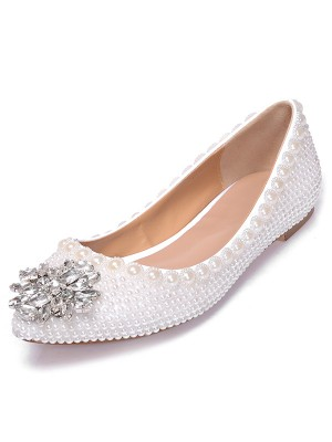 Women's Patent Leather Closed Toe Flat Heel With Pearl Rhinestone Casual Flat Shoes