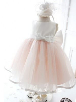 Ball Gown Jewel Organza Sleeveless Tea-Length Flower Girl Dresses