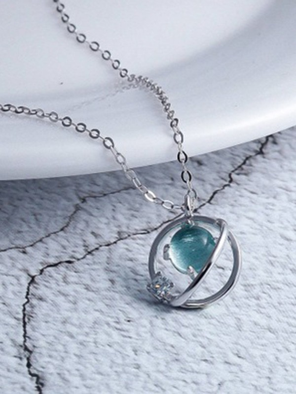 Korean Charming 925 Sterling Silver With Crystal Necklaces