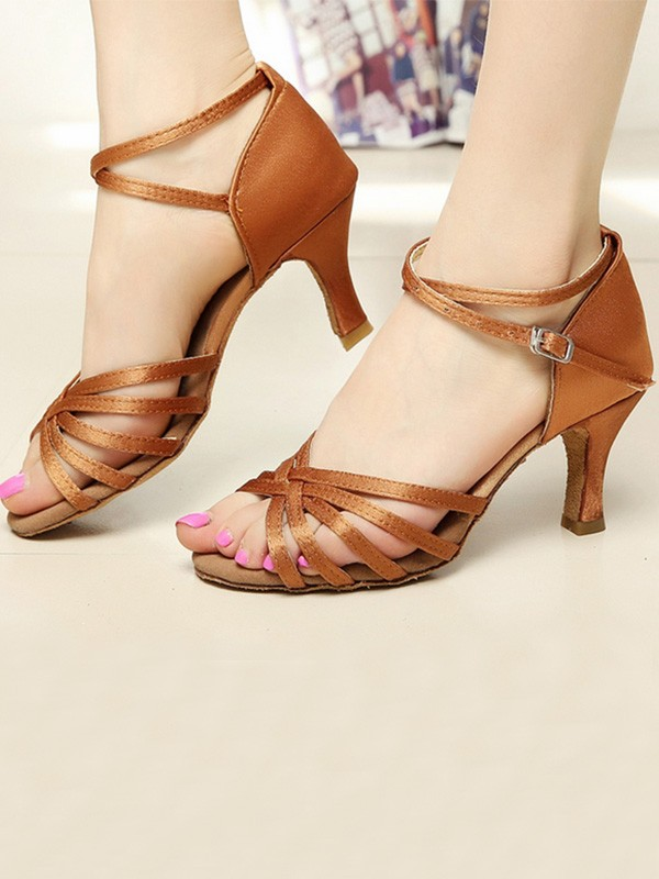 Women Satin Cone Heel Peep Toe Sandals