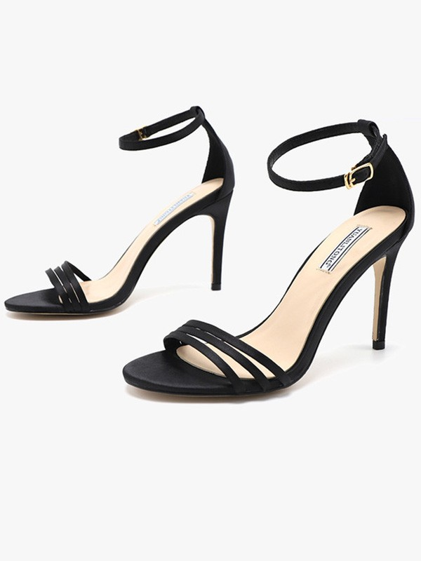 Women Silk Stiletto Heel Peep Toe Sandals