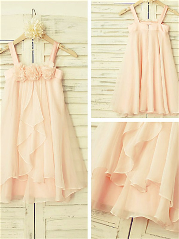 A-line/Princess Spaghetti Straps Chiffon Sleeveless Tea-Length Flower Girl Dresses