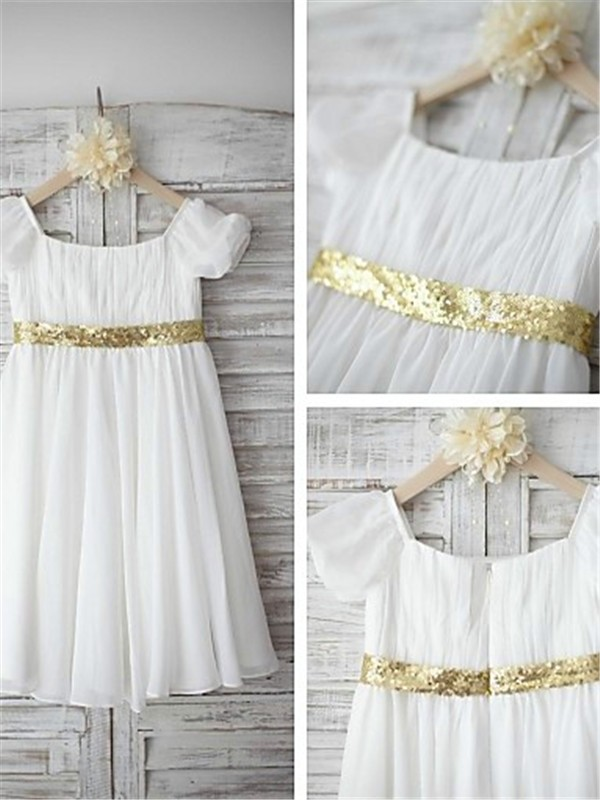 A-line/Princess Bateau Chiffon Short Sleeves Tea-Length Flower Girl Dresses