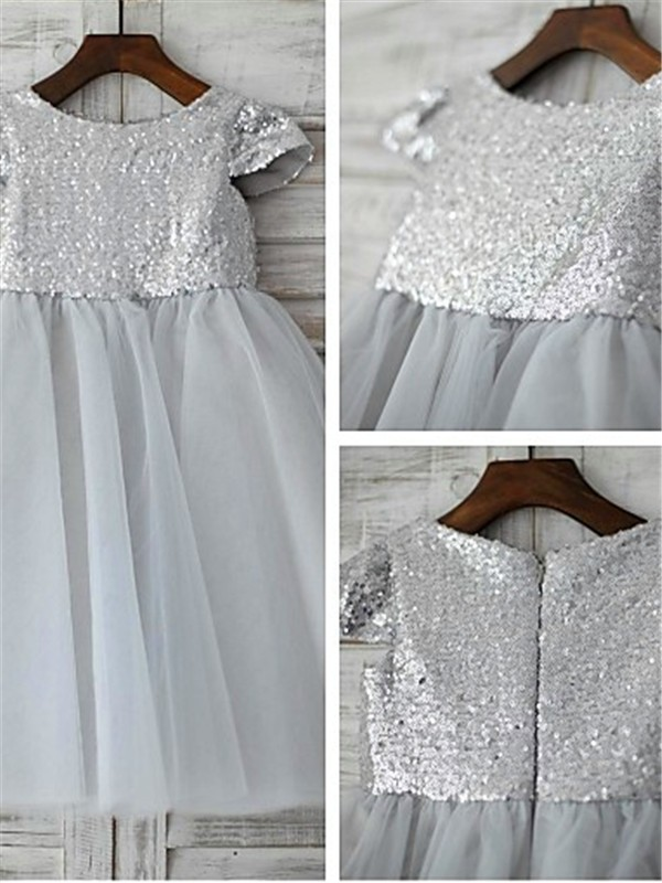 A-line/Princess Scoop Tulle Short Sleeves Tea-Length Flower Girl Dresses