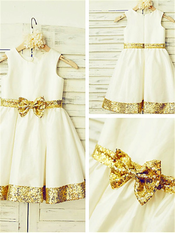 A-line/Princess Scoop Satin Sleeveless Tea-Length Flower Girl Dresses