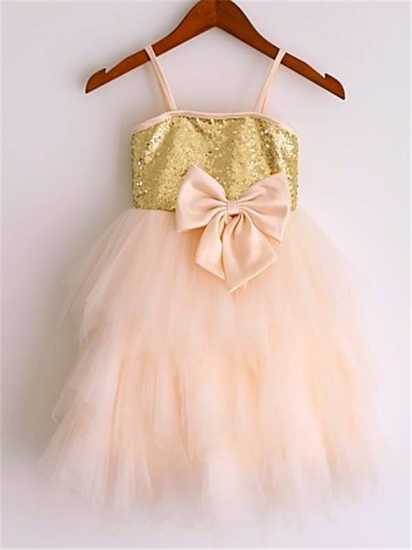 A-line/Princess Spaghetti Straps Net Sleeveless Tea-Length Flower Girl Dresses