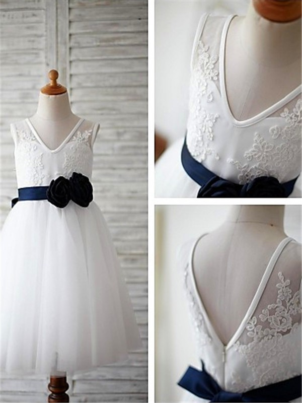 A-line/Princess V-neck Tulle Sleeveless Tea-Length Flower Girl Dresses