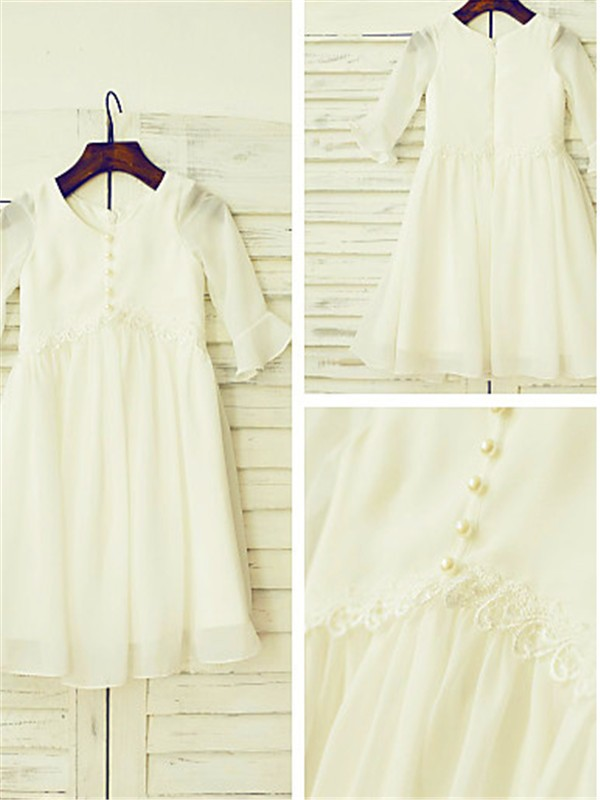A-line/Princess Scoop Chiffon Long Sleeves Tea-Length Flower Girl Dresses
