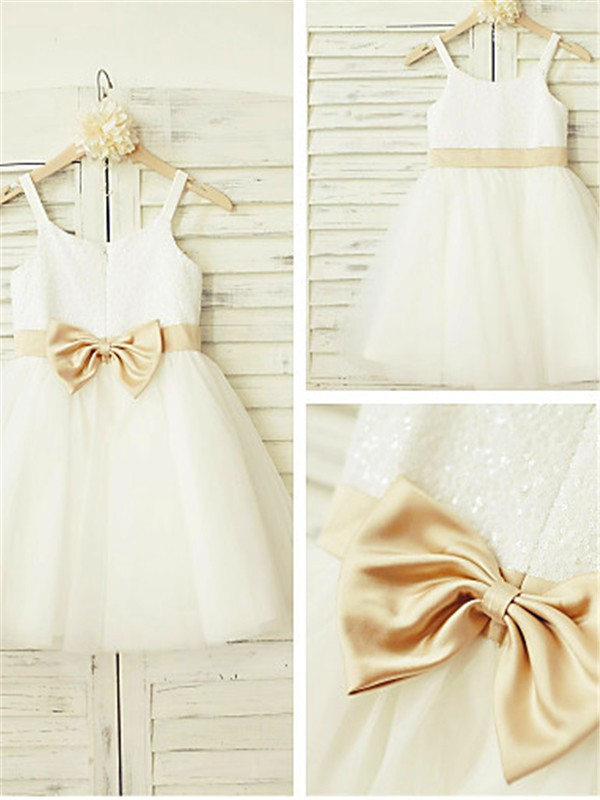 A-line/Princess Spaghetti Straps Tulle Sleeveless Knee-Length Flower Girl Dresses