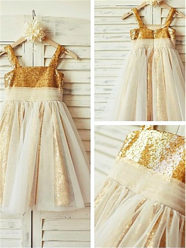 A-line/Princess Spaghetti Straps Sequins Sleeveless Tea-Length Flower Girl Dresses